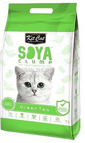 חול מתגבש לחתול סויה תה ירוק קיט קט KIT CAT בנפח 7 ליטר