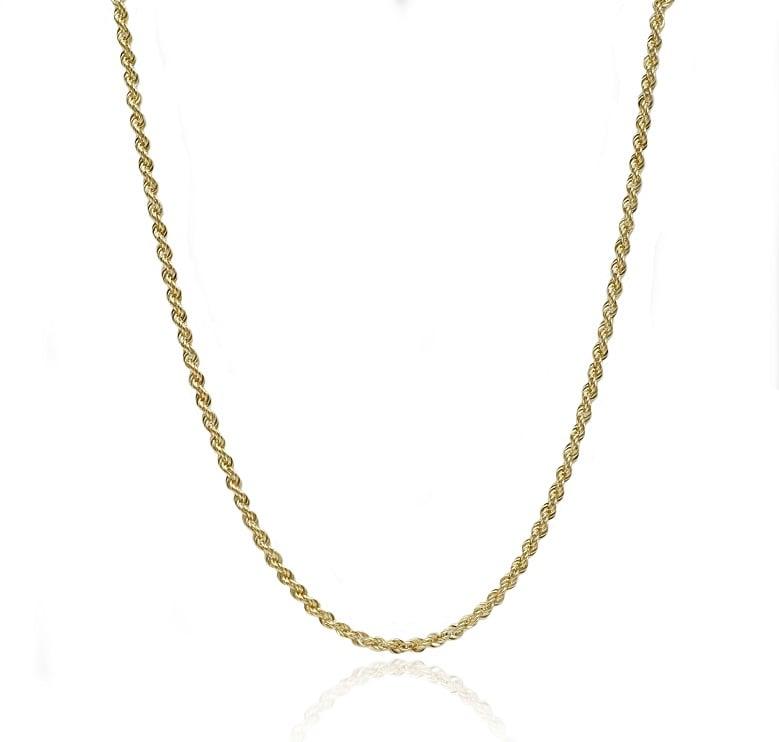 שרשרת זהב חבל 2.1 ממ שרשרת זהב חבל ארוכה  14 קרט