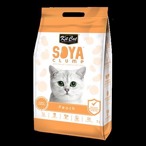 חול מתגבש לחתול על בסיס סויה בריח אפרסק 7 ליטר