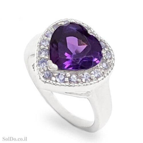 טבעת מכסף לב משובצת אבן אמטיסט ואבני טנזנית RG6301 | תכשיטי כסף 925 | טבעות כסף