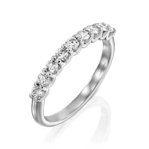 טבעת חצי איטרנטי מזהב 14 קראט משובצת ב- 9 אבני יהלום טבעיים