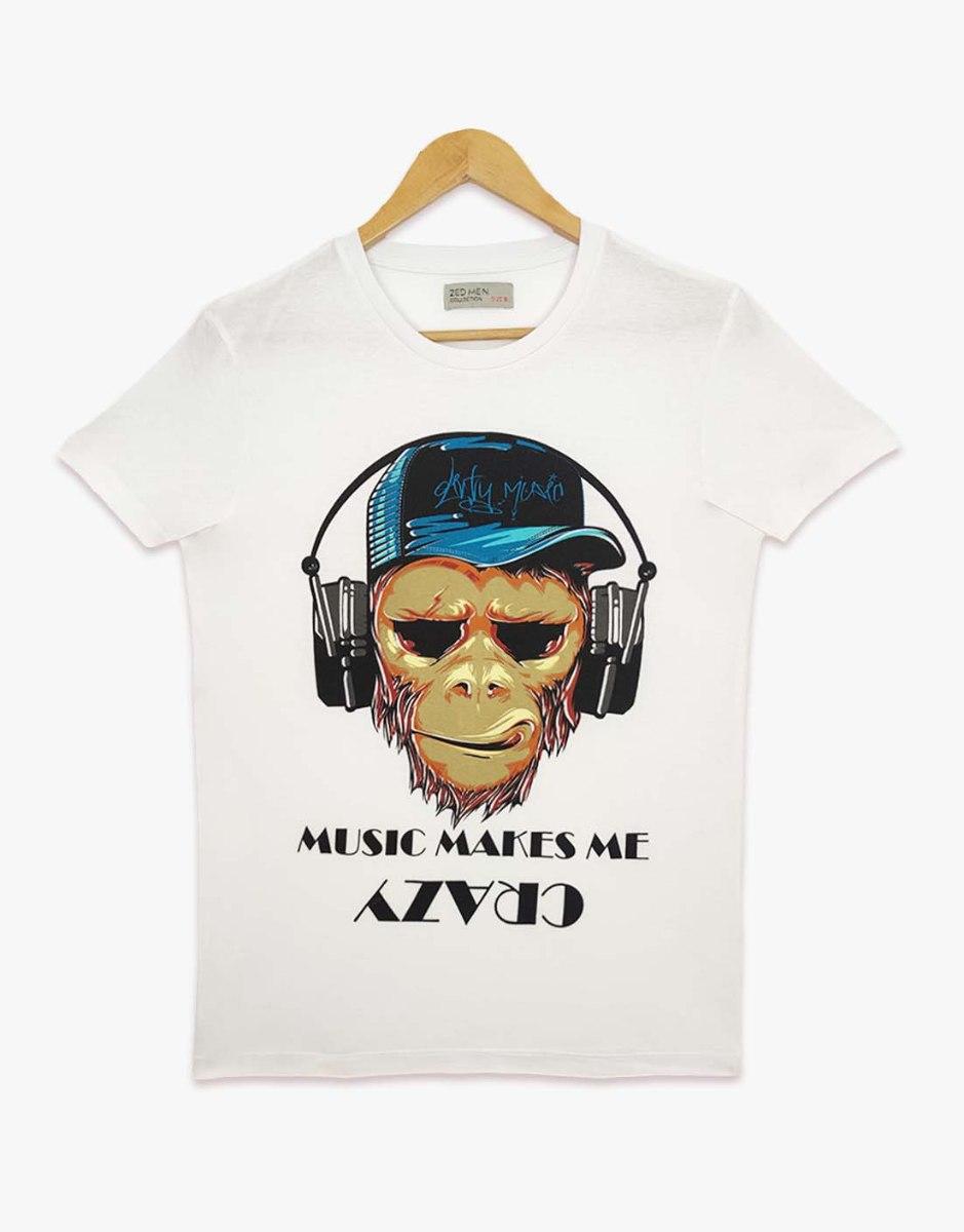 חולצת טריקו גברים מודפס MUSIC MAKE ME
