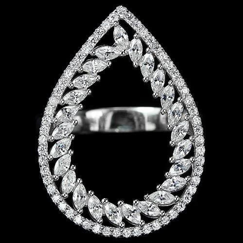 טבעת כסף משובצת זרקונים RG3253 | תכשיטי כסף 925