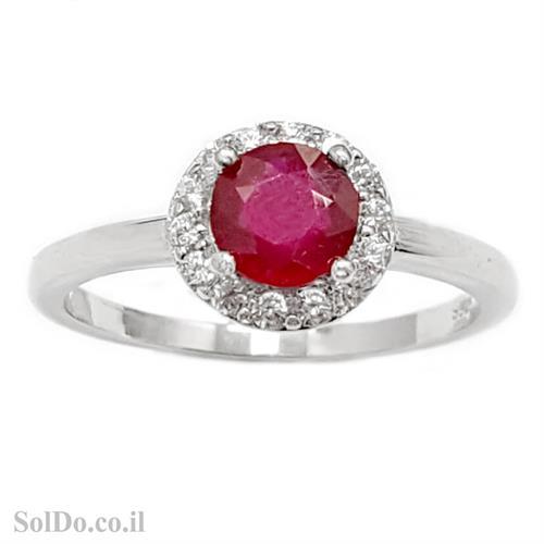 טבעת מכסף משובצת אבן רובי אדומה ואבני זרקון קטנות  RG6007 | תכשיטי כסף 925 | טבעות כסף