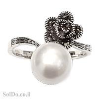 טבעת מכסף משובצת פנינה לבנה ומרקזטים RG1576 | תכשיטי כסף 925 | טבעות עם פנינה
