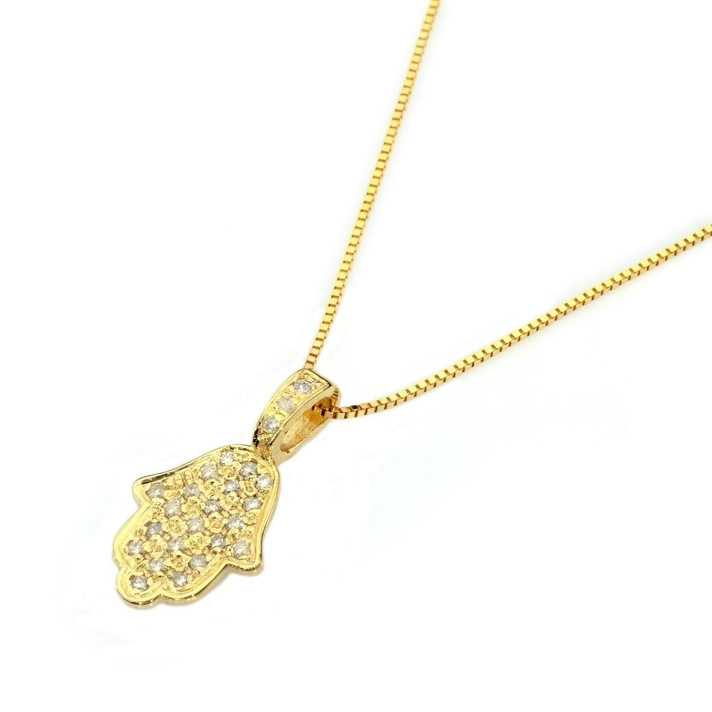 שרשרת חמסה זהב משובצת יהלומים 0.12 קראט עשויה בזהב 14 קאראט