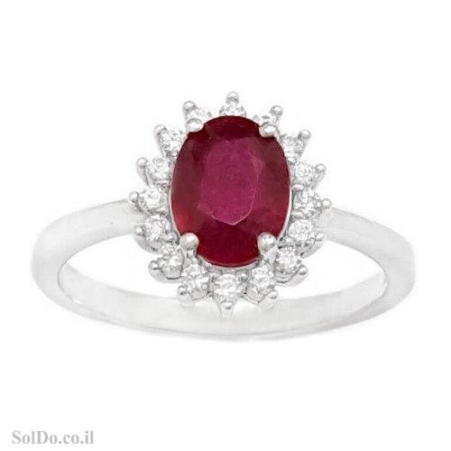 טבעת מכסף משובצת אבן רובי אדומה ואבני זרקון RG6245 | תכשיטי כסף 925 | טבעות כסף