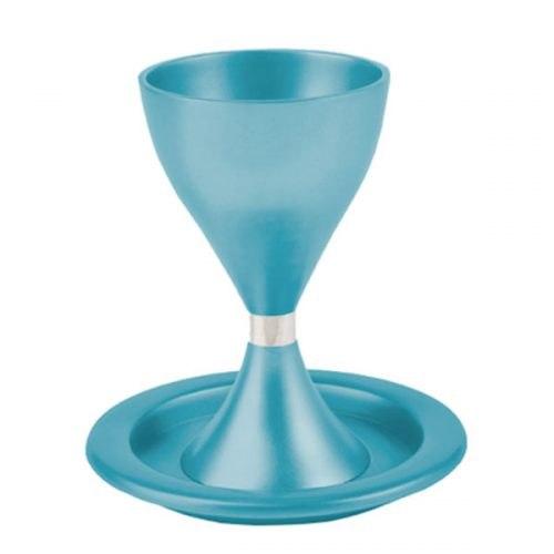גביע קידוש מודרני + צלחת - טורקיז