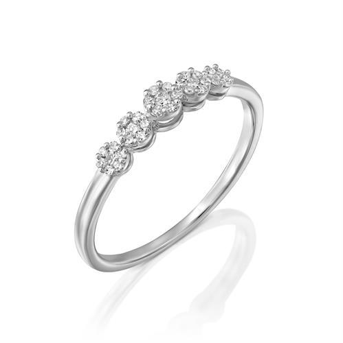 טבעת היהלום שבכתר משובצת יהלומים בזהב לבן או צהוב 14 קראט