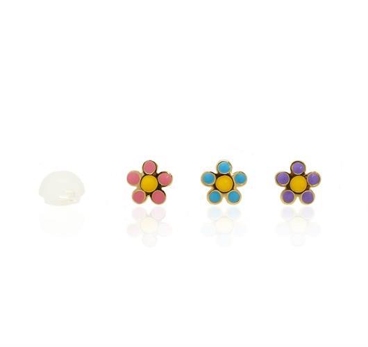 עגילי ילדות מזהב פרח (צבע לבחירה)