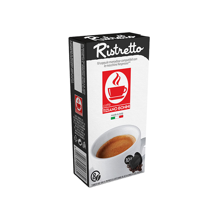 10 קפסולות קפה בוניני Ristretto תואם נספרסו - חוזק 8