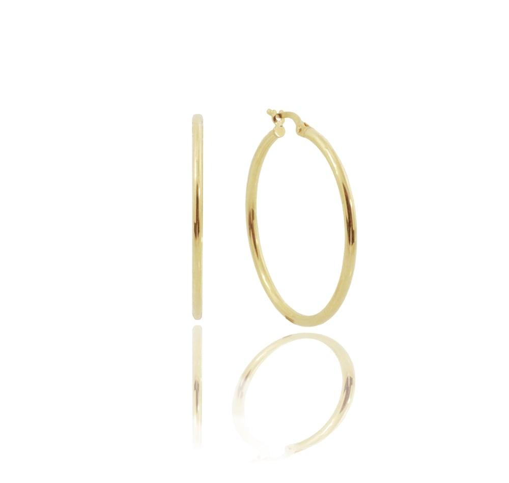עגילי חישוק חלקים זהב צהוב 14 קראט