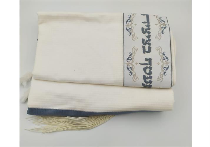טלית כנשר 100% כותנה בד תשבץ צבע אפור