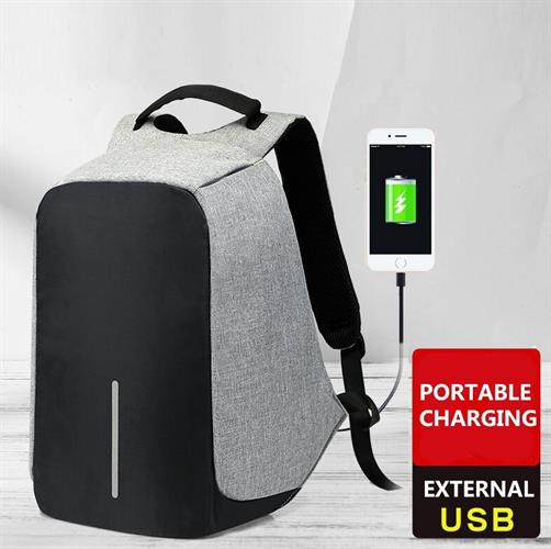 תיק גב למניעת גנבות כולל USB מיועד למחשב לעבודה ולטיולים