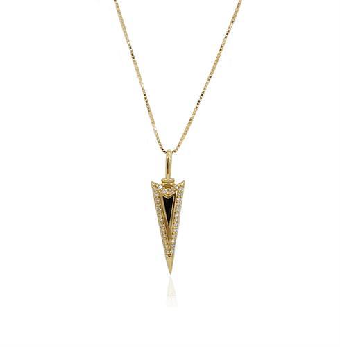 שרשרת זהב לגבר תליון משובץ זרקונים ואמייל שחור  תליון כידון זרקונים