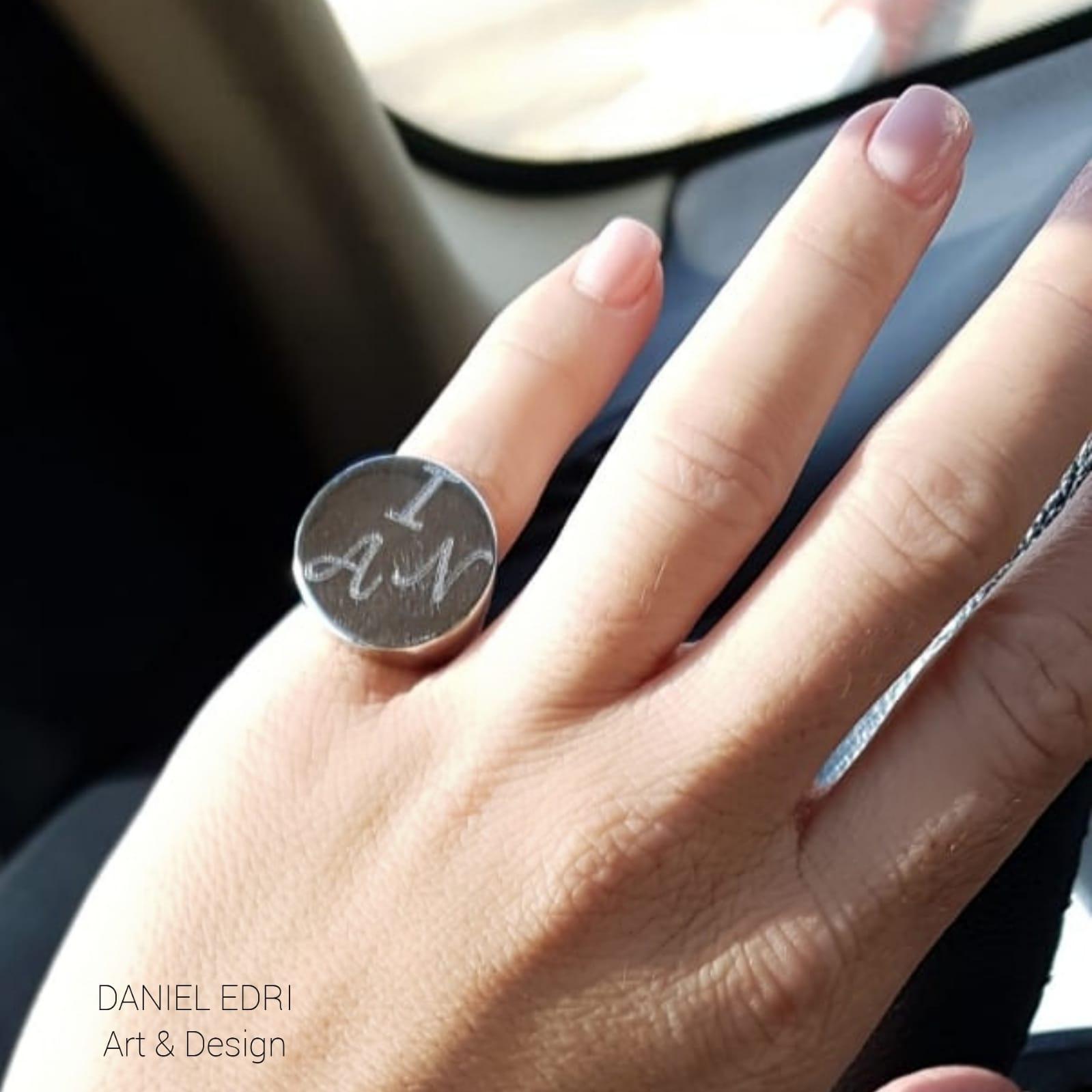 טבעת חותם חריטה כסף/ציפוי זהב