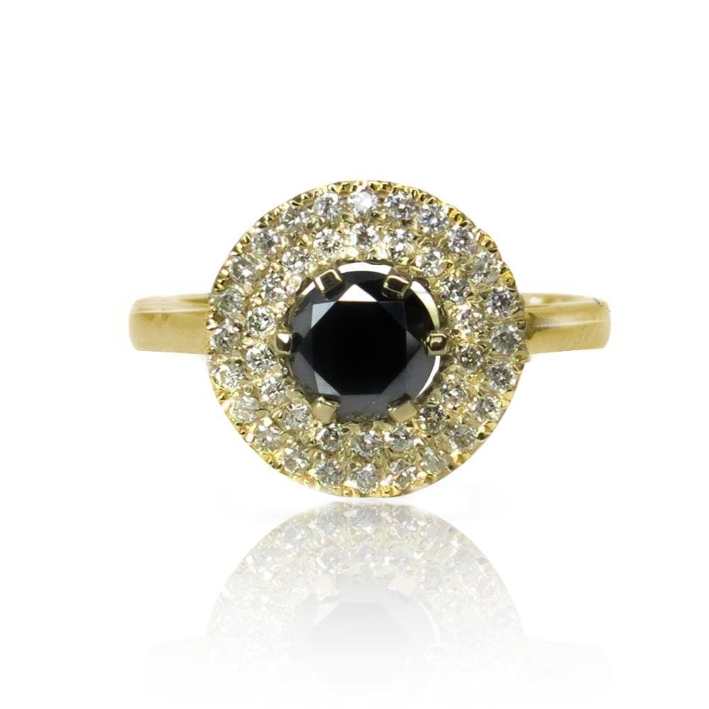 טבעת זהב מעוצבת משובצת ספיר וזירקונים