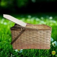 סלסלת פיקניק בצבע טבעי עם מכסה וידיות מתקפלות