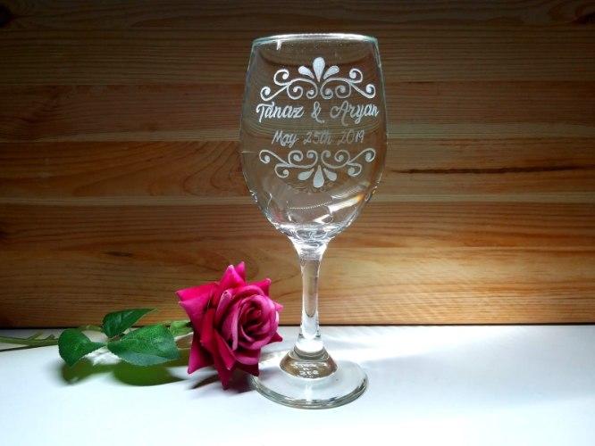 כוסות יין מעוצבת לחתונה |עיטור קלאסי ותאריך לועזי | English