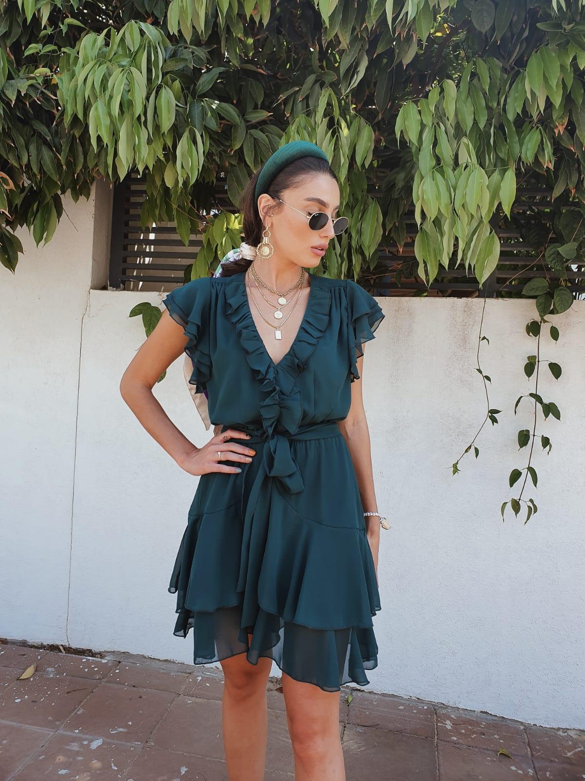 שמלת איה שיפון - ירוק בקבוק