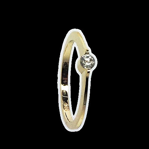 טבעת אירוסין זהב צהוב 14K יהלום מרכזי OP07160066708