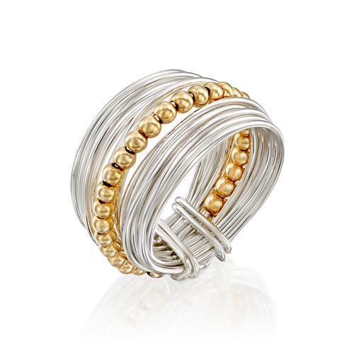 טבעת ספירלי לבן חרוזים