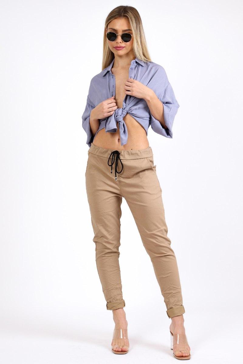 מכנס קפרי כותנה כאמל
