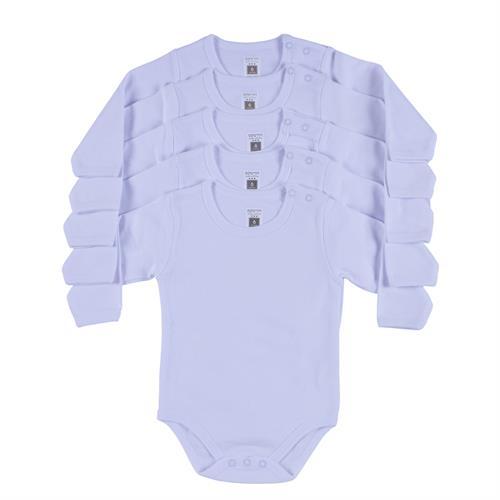 מארז חמישיית בגדי גוף לבן/שחור פלנל