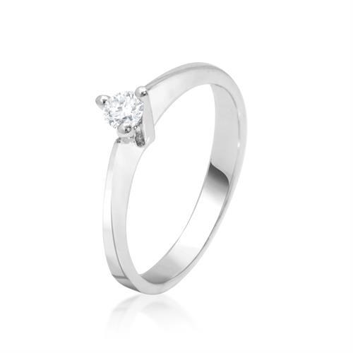 טבעת זהב לבן 3 שיניים עם יהלום 0.15 קרט