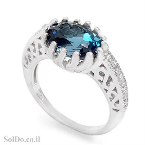 טבעת מכסף משובצת אבן טופז כחולה  וזרקונים RG6158 | תכשיטי כסף 925 | טבעות כסף