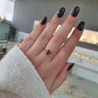 טבעת זהב עלים משובצת רובי ויהלומים