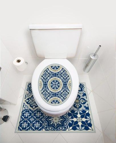 שטיחון ומדבקה לאסלה  אקלקטי כחול מלכותי דגם 274