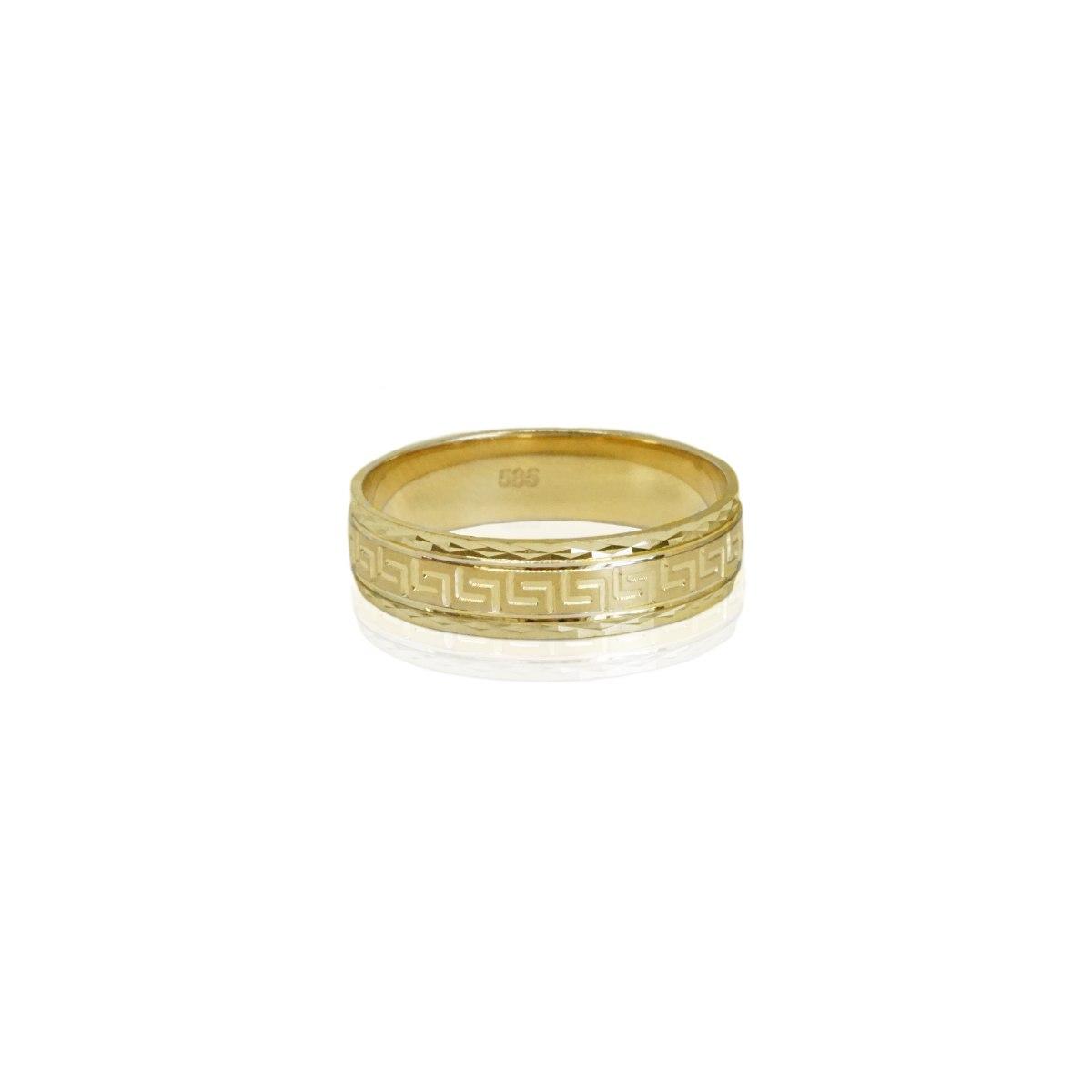 טבעת זהב צהוב רחבה בסגנון רומאי