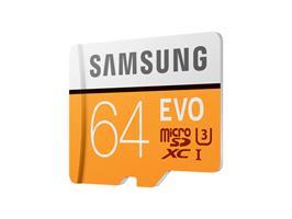 כרטיס זיכרון MicroSDXC samsung EVO Memory Card Adapter 64GB U3 ומתנה
