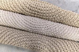 שטיח עגול סרוג - צבע אבן
