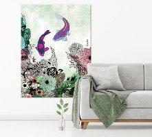 ציור דגי קוי צבעוני לסלון