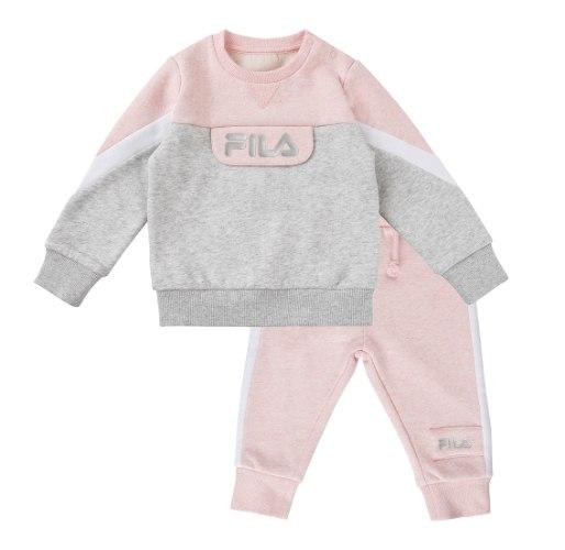 חליפת פוטר ורוד/אפור FILA - תינוקות  - מידות 6 עד 24 חודשים