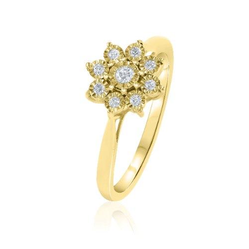 טבעת משובצת יהלומים בזהב צהוב או לבן 14 קראט 810813