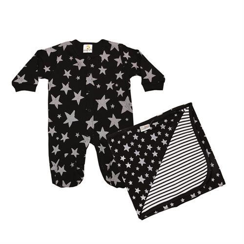 אוברול טריקו כוכבים שחור + שמיכה כוכבים