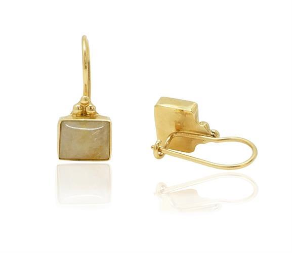עגילי זהב נתלים עם אבן חן רוטיל קוורץ