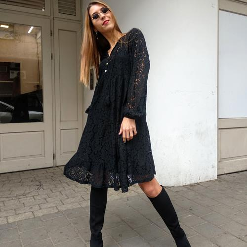 שמלת HOLLY תחרה - שחור