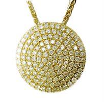שרשרת ותליון בצורת מעגלי זהב 14K משובץ יהלומים 2.18 קראט