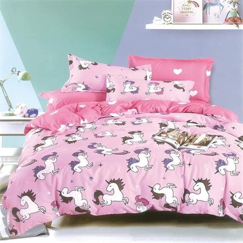 סט מלא מיטה וחצי דגם חד קרן דגם ילדים
