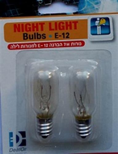 זוג נורות למנורת לילה E12  7W