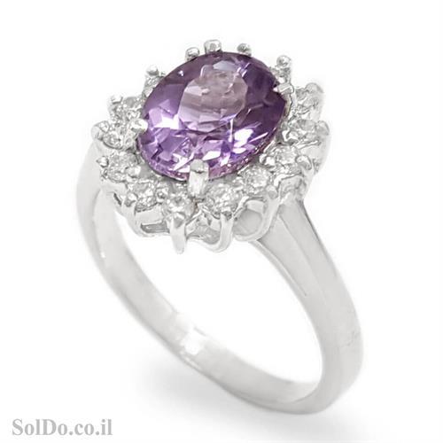טבעת כסף משובצת אבן אמטיסט וזרקונים RG6105 | תכשיטי כסף 925 | טבעות כסף