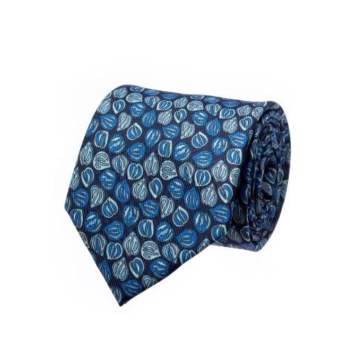 עניבה דגם פלחים כחול נייבי תכלת