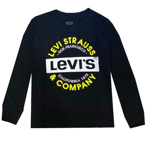 טי שירט LEVIS שחורה לוגו לבן וצהוב - מידות 4-15 שנים