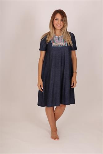 שמלת ג'ינס גלביה חלק עליון אתני