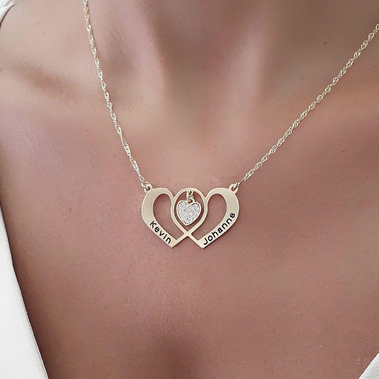 שרשרת לבבות משולבים עם לב משובץ בכסף/ גולדפילד