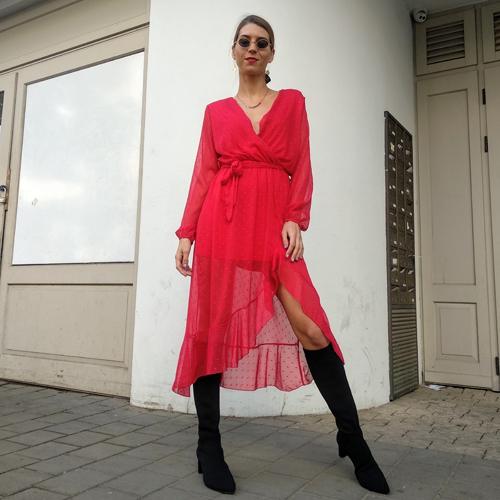 שמלת מעטפת שיפון - אדומה